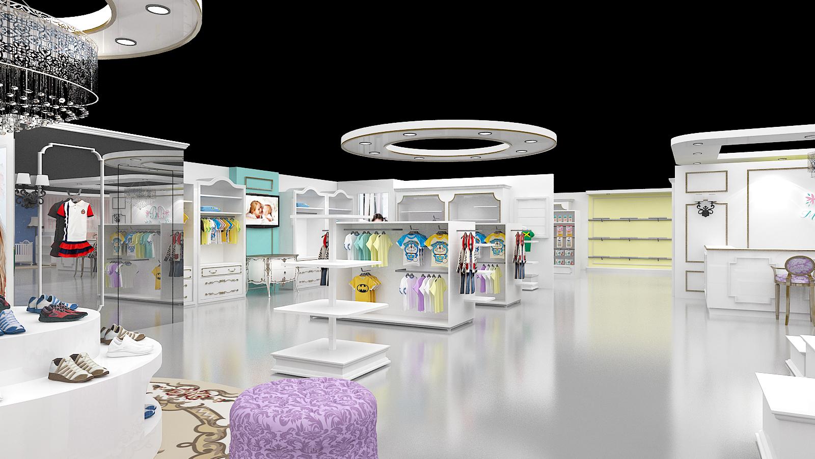 儿童服装专卖店办公场所装修效果图